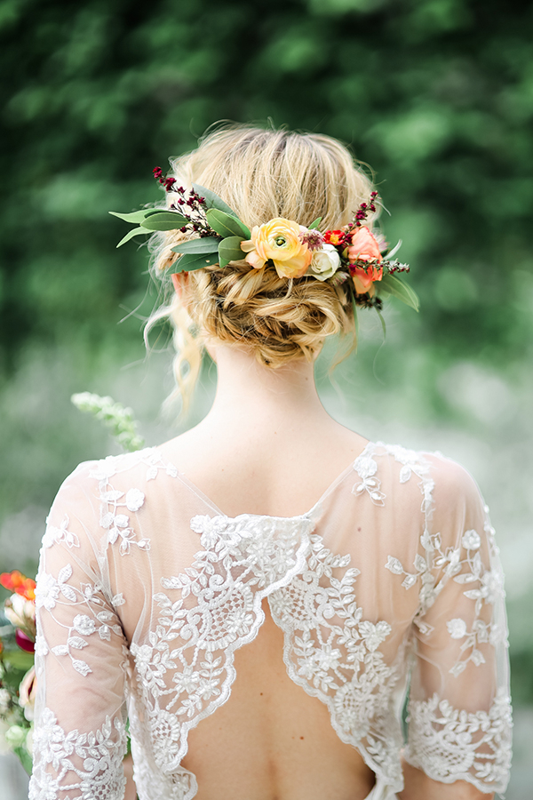 34 Loose Wedding Updos For Brides With Long Hair ? Ruffled Within Romantic Florals Updo Hairstyles (View 26 of 26)