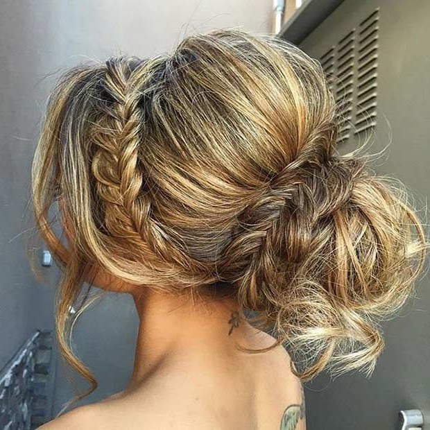 Featured Photo of Teased Fishtail Bun Updo Hairstyles