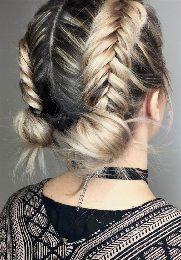 39 Trendy Messy & Chic Braided Hairstyles – Braid Buns Inside Best And Newest Asymmetrical French Braided Hairstyles (View 6 of 25)
