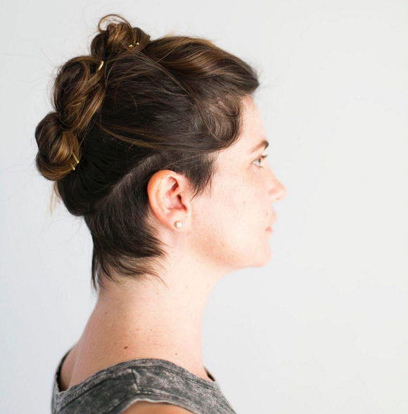4 Fancy Updos For Short Hairbrandsexclusive – Connor Renwick In Stacked Mini Buns Hairstyles (View 6 of 25)