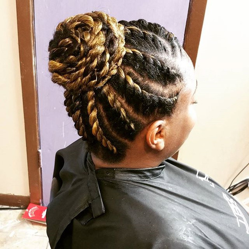 40 Chic Twist Hairstyles For Natural Hair Pertaining To Double Twist Bun Updo Hairstyles (View 17 of 25)