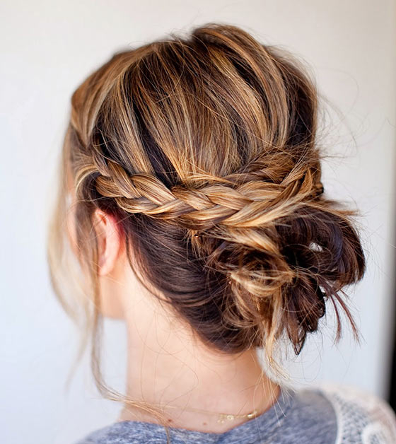 40 Quick And Easy Updos For Medium Hair In Recent French Braid Low Chignon Hairstyles (View 10 of 25)