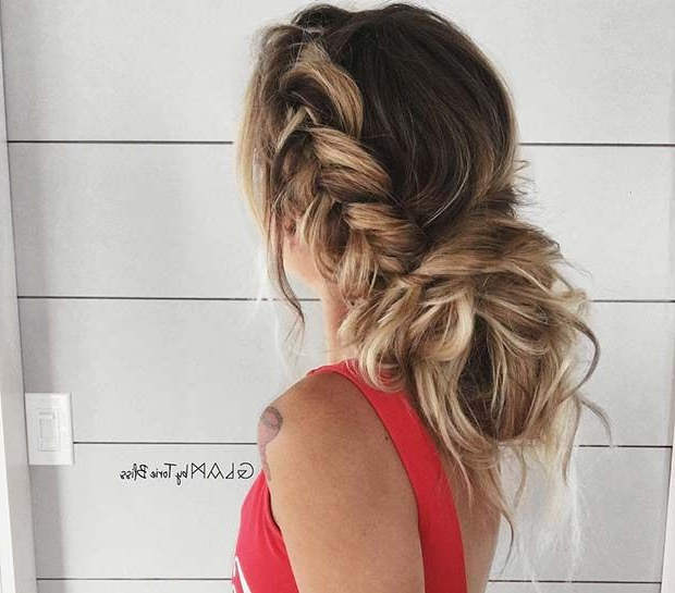 41 Beautiful Braided Updo Ideas For 2019 | Hair Style in Most Recently Messy Side Fishtail Braided Hairstyles
