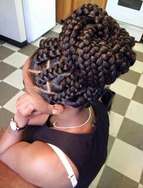 41 Best Jumbo Box Braids Hairstyles | Beauty | Box Braids Throughout Most Recently Big Bun Braided Hairstyles (View 4 of 25)