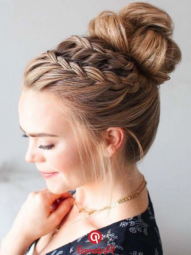 41 Most Attractive High Bun Hairstyles With Lace Braids Intended For High Bun Hairstyles With Braid (View 15 of 25)