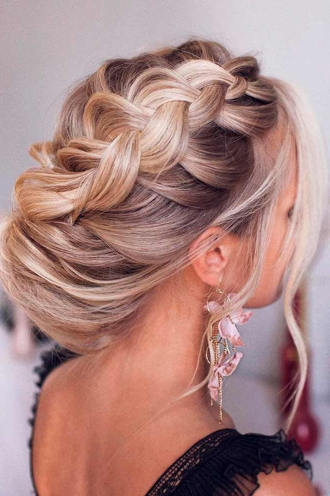 42 Braided Prom Hair Updos To Finish Your Fab Look | We're Within Side Swept Braid Updo Hairstyles (View 3 of 25)