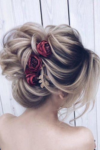 42 Wedding Hairstyles - Romantic Bridal Updos | Wedding Forward with regard to Romantic Florals Updo Hairstyles