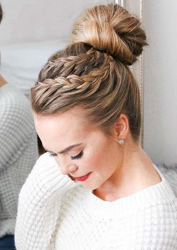43 Gorgeous Double Lace Braid High Bun Hairstyles For 2019 Within High Bun Hairstyles With Braid (View 4 of 25)