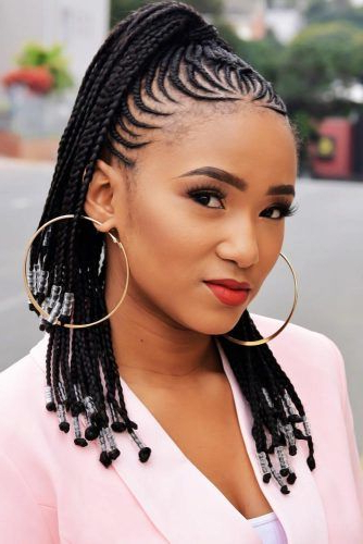 45 Enviable Ways To Rock The Latest Black Braided Hairstyles Inside Cornrow Braids Hairstyles With Ponytail (View 10 of 25)