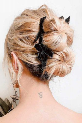 45 Trendy Updo Hairstyles For You To Try | Lovehairstyles in Stacked Buns Updo Hairstyles
