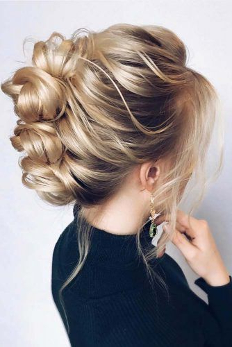 45 Trendy Updo Hairstyles For You To Try | Lovehairstyles Throughout Stacked Buns Updo Hairstyles (View 9 of 25)