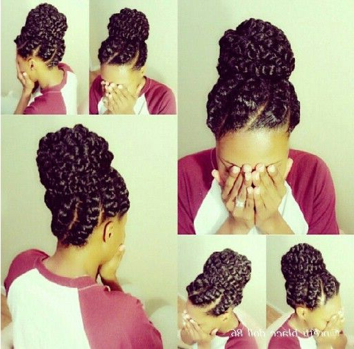 50 Catchy And Practical Flat Twist Hairstyles | Hair Motive For Most Current Big Bun Braided Hairstyles (View 19 of 25)