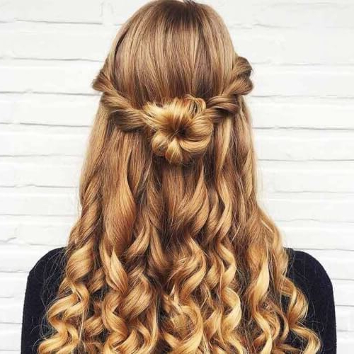 50 Half Up Half Down Hairstyles You'll Totally Love | Hair Intended For Curled Half Up Hairstyles (View 14 of 25)