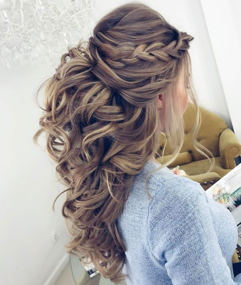 50 Half Updos For Your Perfect Everyday And Party Looks In Regarding Newest Braids And Bouffant Hairstyles (View 4 of 25)