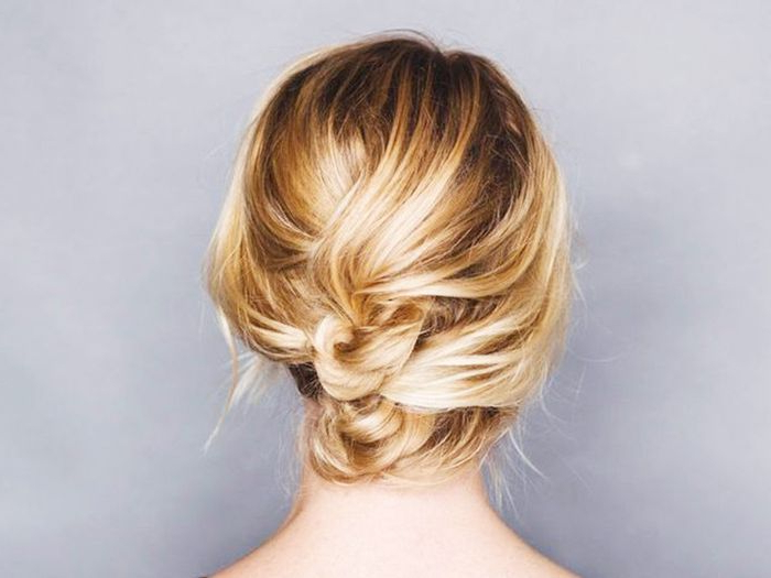 50 Incredibly Chic Updo Ideas For Short Hair Regarding Stacked Buns Updo Hairstyles (View 12 of 25)