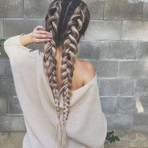 50 Romantic Braid Hairstyles For Long Hair | All Women Within Recent Three Strand Pigtails Braided Hairstyles (View 5 of 25)