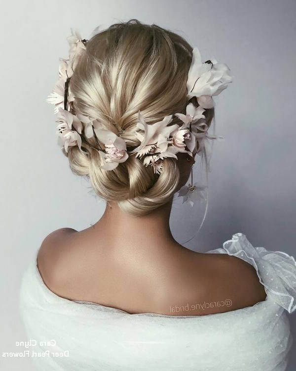50 Romantic Bridal Updos For Your Wedding Day – Belletag Intended For Pearl Bun Updo Hairstyles (View 21 of 25)