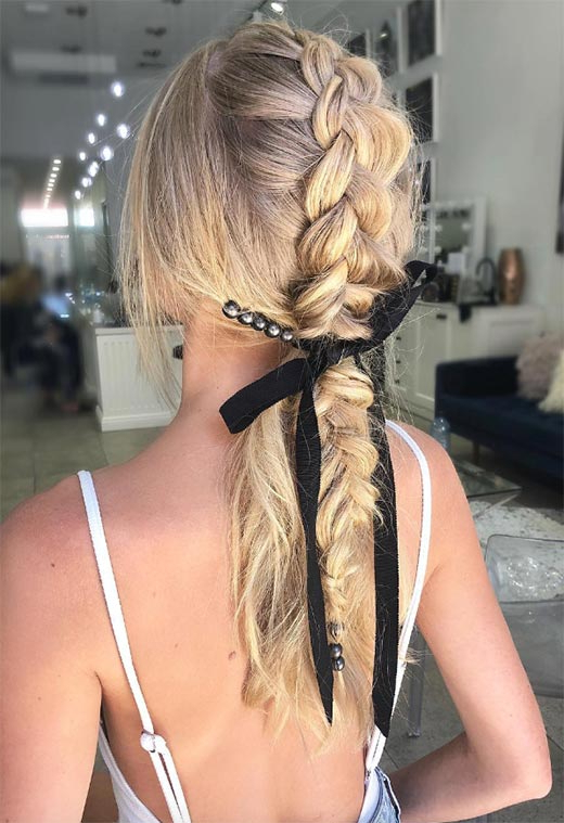 57 Amazing Braided Hairstyles For Long Hair For Every Pertaining To Recent Loosely Tied Braided Hairstyles With A Ribbon (View 22 of 25)