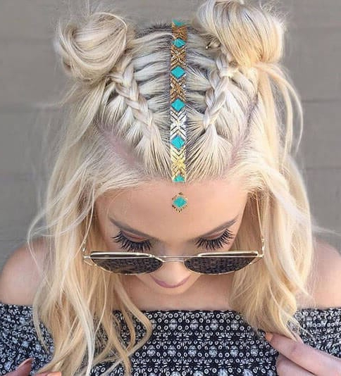 6 Braided Top Knots To Give You Hair Envy With Topknot Hairstyles With Mini Braid (View 24 of 25)
