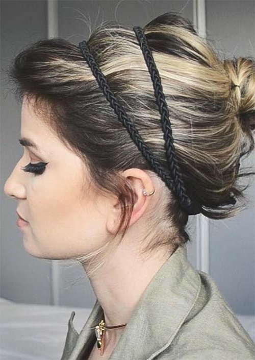 63 Creative Updos For Short Hair Perfect For Any Occasion In Messy Bun Hairstyles With Double Headband (View 5 of 25)