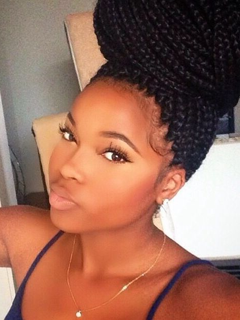 65 Box Braids Hairstyles For Black Women | Braided Hair Inside Recent Big Bun Braided Hairstyles (View 2 of 25)