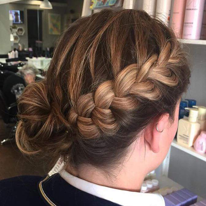 65 Super Stylish Braided Bun Hairstyle To Leave Behind Some For Criss Cross Braid Bun Hairstyles (View 12 of 25)