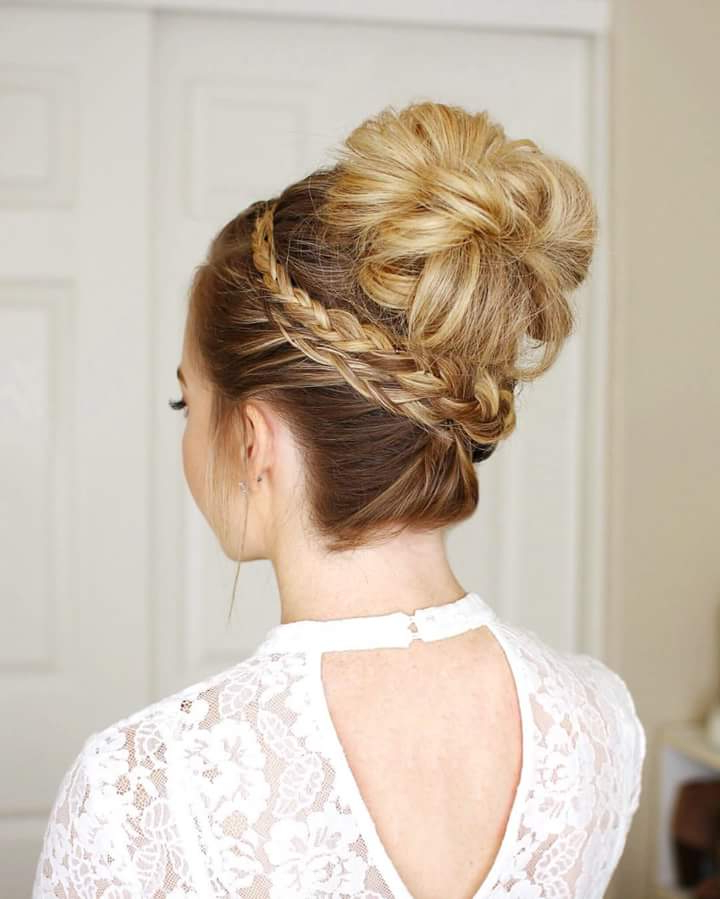 65 Super Stylish Braided Bun Hairstyle To Leave Behind Some Intended For High Bun Hairstyles With Braid (View 18 of 25)