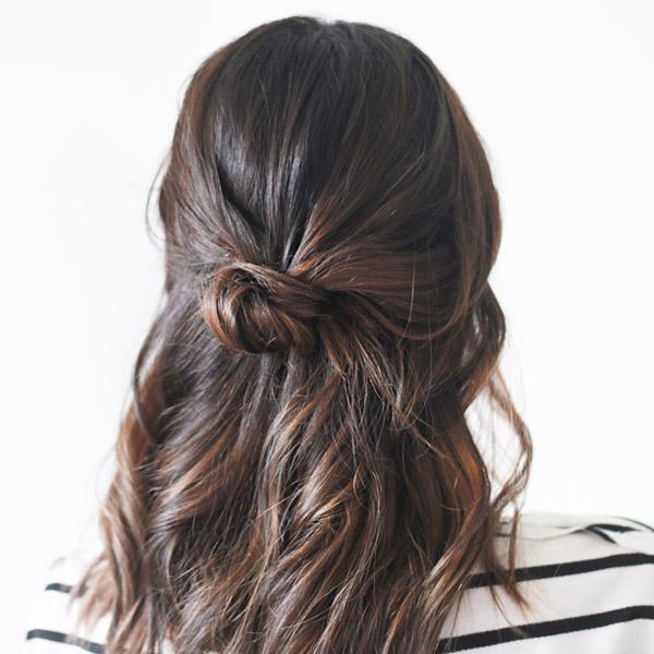 7 Super-Easy Half Up Half Down Bun Tutorials - Thefashionspot in Simple Half Bun Hairstyles