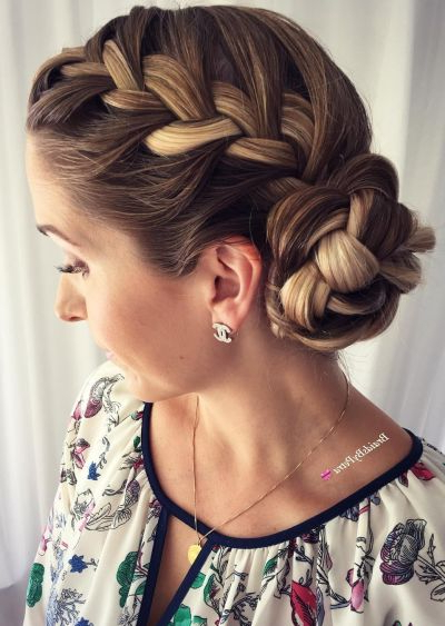 70+ Cute French Braid Hairstyles When You Want To Try pertaining to Best and Newest Chunky French Braid Chignon Hairstyles