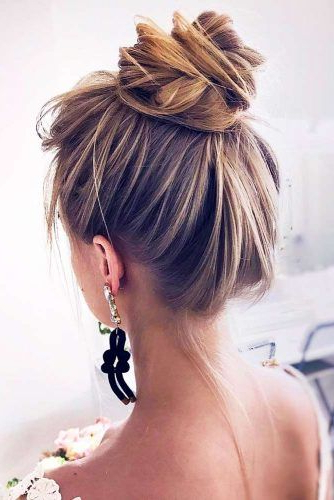 70+ Fun And Easy Updos For Long Hair | Lovehairstyles Within High Bun Hairstyles With Braid (View 22 of 25)