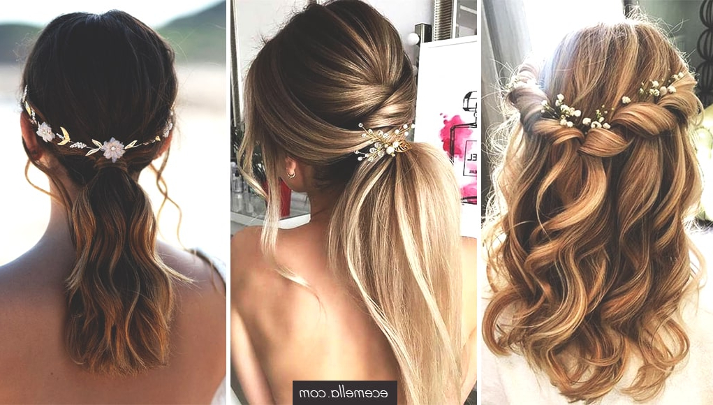 72 Romantic Wedding Hairstyle Trends In 2019 | Ecemella with regard to Romantic Ponytail Updo Hairstyles