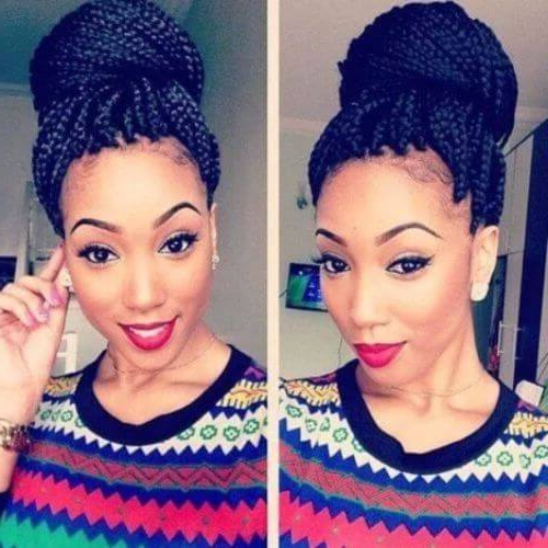 80 Great Box Braids Styles For Every Occasion pertaining to 2020 Box Braids Bun Hairstyles