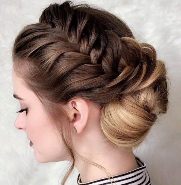 90 Glamorous Side Braids To Try Out This Season Inside Most Recently Chunky French Braid Chignon Hairstyles (View 12 of 25)