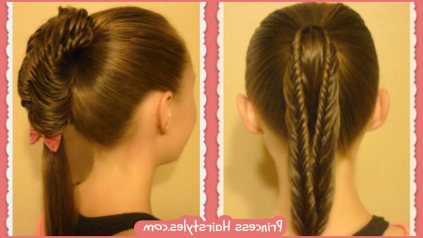 Back To School Hairstyles, Split Fishtail Braid Ponytails With Newest Fishtail Braid Pontyail Hairstyles (View 19 of 25)