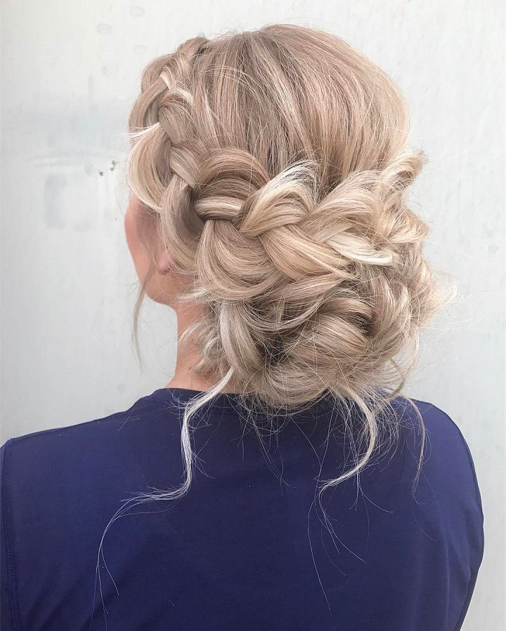 Beautiful Boho Braid Updo Wedding Hairstyle For Romantic Throughout Romantic Ponytail Updo Hairstyles (View 3 of 25)