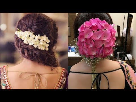Beautiful Hair Style With Real Flowers/flower Bun Hairstyle/latest Side Flower Bun Style For Wedding Regarding Floral Bun Updo Hairstyles (View 20 of 25)