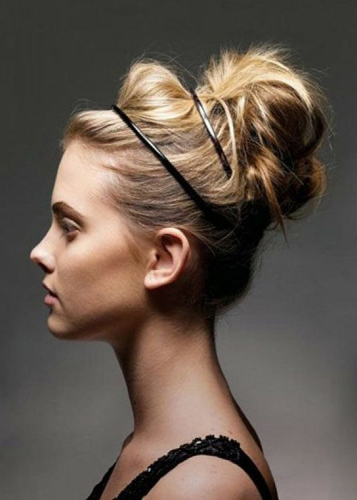 Featured Photo of Messy Bun Hairstyles With Double Headband