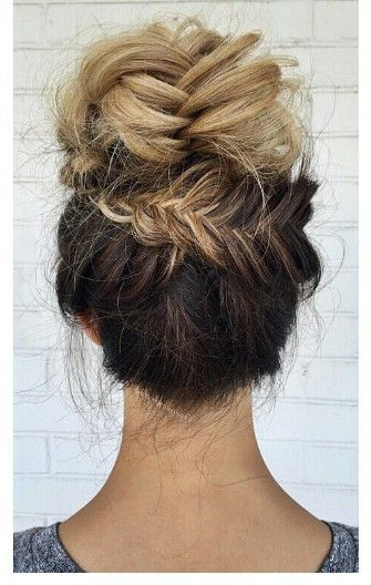 Blonde Ombre Fishtail Braided Updo Bun Hairstyle Intended For Fishtail Braid Updo Hairstyles (View 16 of 25)