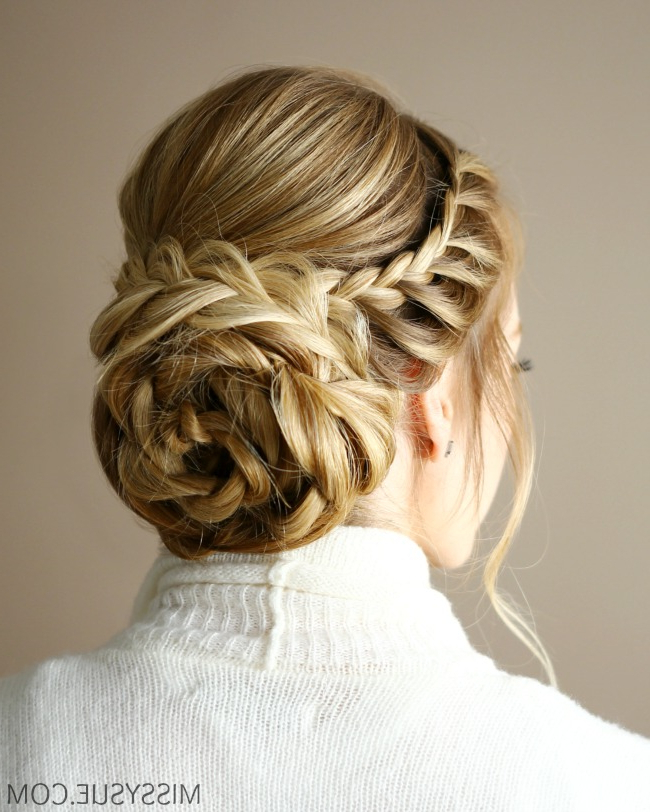 Braid Embellished Rosette Bun | Missy Sue In Floral Bun Updo Hairstyles (View 15 of 25)
