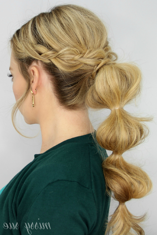 Braid Wrapped Bubble Ponytail Throughout Bubble Braid Updo Hairstyles (View 13 of 25)