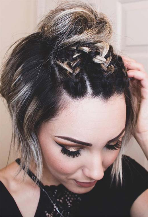 Braided Hairstyles For Short Hair Inside Topknot Hairstyles With Mini Braid (View 7 of 25)