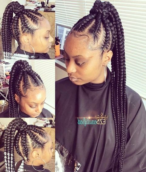 Braided Ponytail Hairstyles For Black Hair | Beauty Within Cornrow Braids Hairstyles With Ponytail (View 9 of 25)
