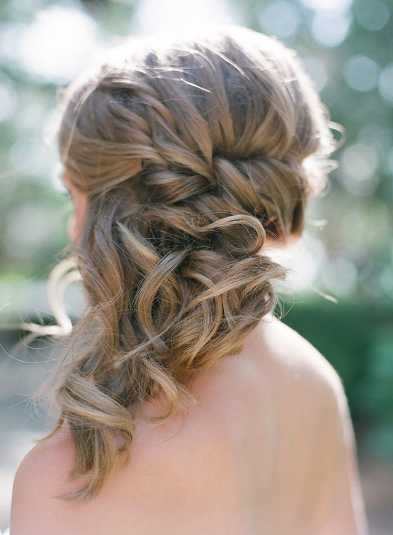 Braided Side Swept Medium Hair With Curly Tips | Almost Baer Inside Side Swept Braid Updo Hairstyles (View 9 of 25)