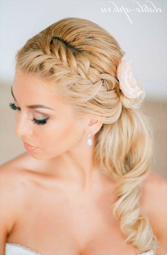 Briaded Ponytail Updo Hairstyle For Bride In Braided Ponytails Updo Hairstyles (View 23 of 25)