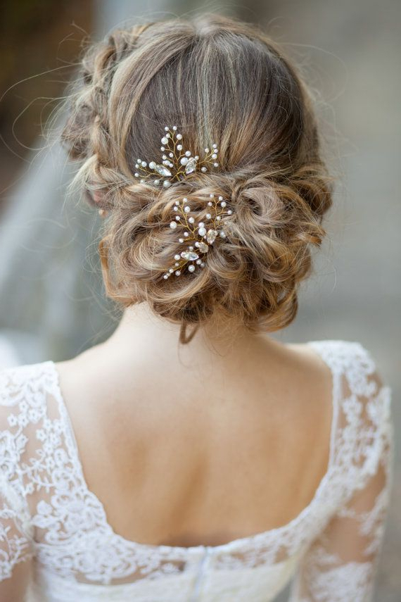 Bridal Hair Pins Wedding Hair Pins Pearl Hair Pins With With Regard To Pearl Bun Updo Hairstyles (View 9 of 25)
