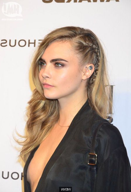 Cara Delevinge. French Braid Mimicking The Half Shaved Style for Recent Faux Undercut Braided Hairstyles