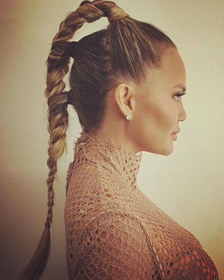 Chrissy Teigen's Futuristic Triple Braided Ponytail Is The Within Most Recently Grecian Inspired Ponytail Braided Hairstyles (View 6 of 25)