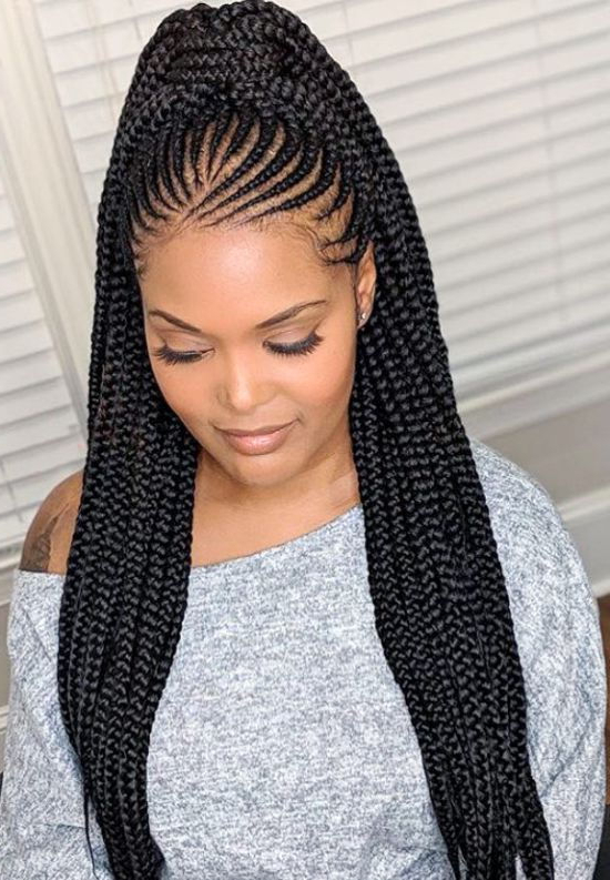 Cornrows | 19 Goddess Braids Hairstyles For Black Women Throughout Cornrow Braids Hairstyles With Ponytail (View 6 of 25)