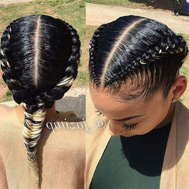 Cornrows Fed Into A Fishtail | More Braids | Braided throughout Newest Cornrow Fishtail Side Braided Hairstyles