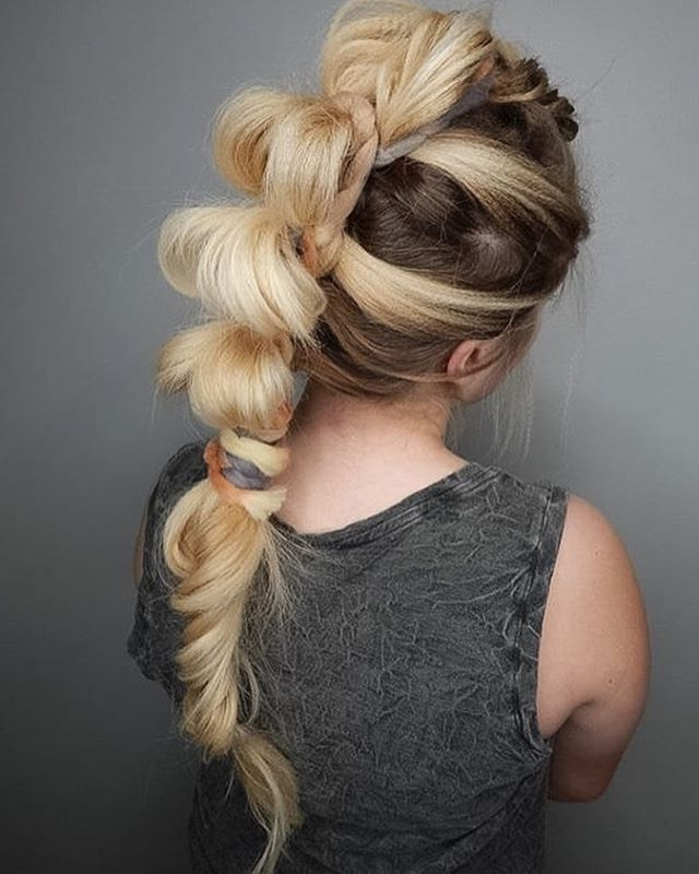 Crimped Hairstyle For Females For 2017 | 2019 Haircuts Regarding Bubble Braid Updo Hairstyles (View 12 of 25)
